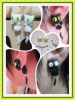 Handmade polymer clay stud earring cat ears split stud earring
