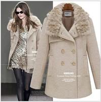 European and American women's 2013 qiu dong long woolen coat female British style double-breasted wool coat fur collar women