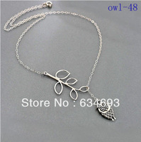 Wholesale Lot Owl Necklace Delicate Leaf Branch Owl Infinity Pendant Necklace Girls Jewelry