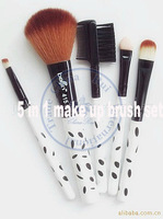 5 in1 brush sets black dots professional natural hair Makeup Kit cosmetic tool bag blush eyeshadow eyebrow  wholesale