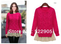 Free Shipping 2014 New Autumn Winter Women's Long Sleeve Warm Doughnut Loose Rose Red Kintted Pullover Sweaters with Chiffon