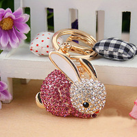 Free Shipping New Design Crystal Lovely Rabbit  Keychain  Keyring Bag/Purse  Charm gift   Real Gold Plated,three colors choice