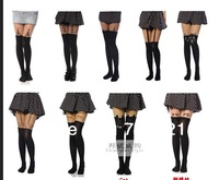 On Sale 14style Sexy Womens Lady Black Mock Suspender Heart Cat Fox Animail Star Print Pantyhose Tights Stockings Dropshipping