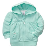 Retail,2013 New Carters Baby Girls Green French Terry Hoodie Jacket, Carters Spring/ Autumn Hooded Coat, Freeshipping IN STOCK