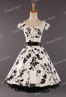 Fast Delivery! Cap Sleeve Cotton Ball Cocktail Evening Prom Party Vintage Dress Women 4 Size S~XL CL4598