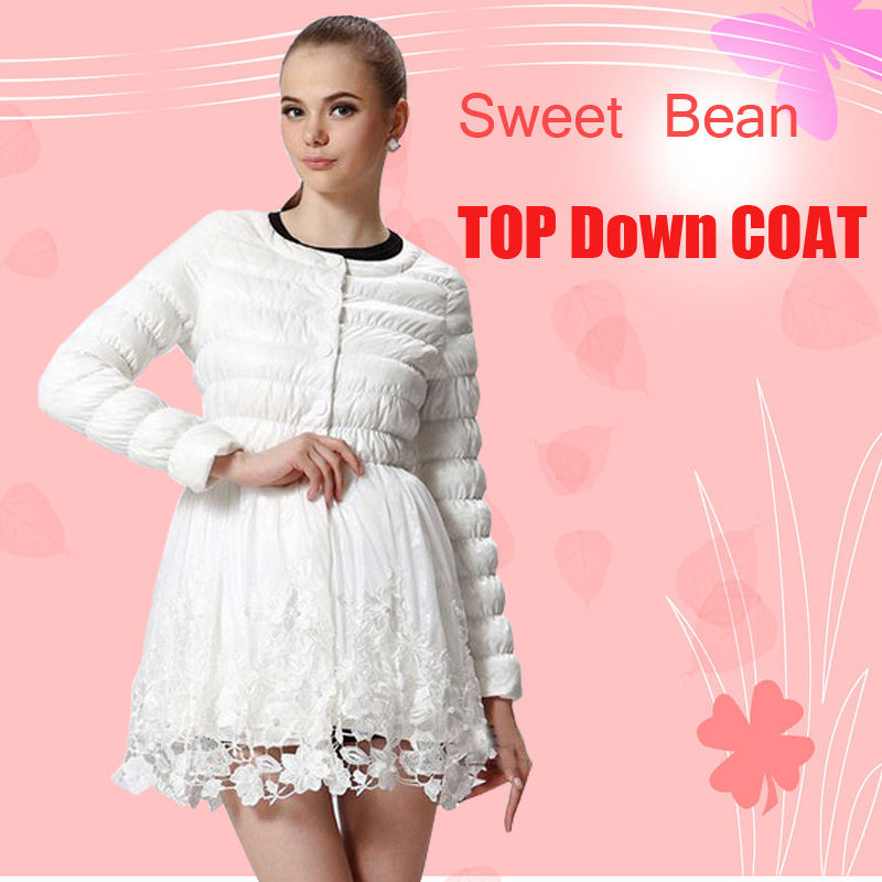 Sweet Bean 2013 Winter New Lace Water Soluble Flower Skirt Warm Fashion Down Coat Dress Luxury down coat(China (Mainland))