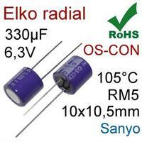 6SA330M SANYO 330UF 6.3V ALUMINUM ELECTROLYTIC RADIAL HIGH TEMP CAPACITOR