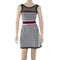 DHL free shipping in stock newest fashion LILLI' PINK BLACK AND WHITE HOUNDSTOOTH BANDAGE PLEATED A-LINE DRESS