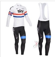2013  new  France    France    team winter thermal Fleece cycling long sleeve   jersey+ Silicone pads  bib  pants