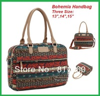 Pop Fashion Ladies Handbag Bohemia Canvas Laptop Bag 13,14,15 inch Stitching Flowers,Case Notebook, For Macbook, Free Shipping.