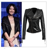 Punk Womens real Genuine Sheepskin Leather slim o neck Biker Jacket blazer Motorcycle black Lapel collar