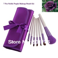 Shipping free Professional Female Cosmetic Tool 7 PCS Noble Purple makeup brush Set / brushes Kit  in Portable Case Pouch