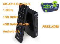 GK-A215 Android 4.2 Smart TV Box XBMC dual-core network set-top boxes TV set-top box RJ45 network broadcast HD box