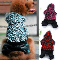 Free shipping Cute Pet Puppy Winter Warm Leopard Print Coat Clothes Dog Hoodie Costume 4 Color