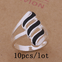 10pcs/lot Exquisite Black Color Silver Plated Ring Jewelry For Wedding US Size 6.7.8.9