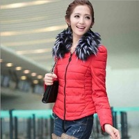 2013 Ladies Fashion down coat  with faux fur collar outerwear winter color clothes women thick jackets Parka Overcoat SYY0162