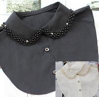 NEW Hot Fashion Pearl Beads False Collar Necklace Women white black blouse shirt peter pan detachable collars