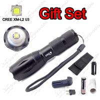 Economic Gift Set ~ 1pc E17 CREE XM-L2 U3 L2 LED Zoomable Flashlight Torch + 1pc 4000mAh Battery + 1pc Charger + 1pc Holster