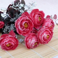 Fashion luxury home decoration powder rose camellia artificial flower bountyless silk flower floor hanging basket