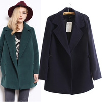 New! European Simple Boutique Double Row Buttons Plus Size Coats Long Sleeve Turn down Collar  Elegant Women's Overcoats 112215