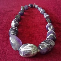 Pure 100% Natural Amethyst Quartz Semi-precious Stone Fashion Jewelry Necklace