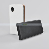 White/Black Real Genuine Vertical Leather Case for LG Google Nexus 5 50pcs/Lot