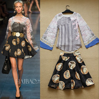 2014 Spring Runway High Street Fashion Women's Long Flare Sleeves Vintage Building Print Chiffon Blouses + Coins Print Skirt Set