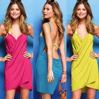 sweet girl dress Pure color deep V multi- strap dress sexy sun women beach dress