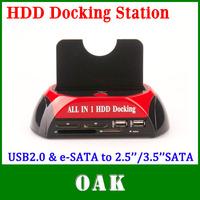 Free Shipping - WLX-879U2C USB2.0 & e-SATA to 2.5''/3.5'' SATA Multi-Function HDD Docking Station High Quality