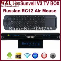 Smart TV Box V3 Android 4.2 Dual Core MINI PC RK3066 1GB RAM 8GB ROM Microphone AV RJ45 HDMI Camera + Russian RC12 Air Mouse