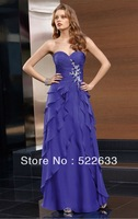 2014 Royal Blue A-line Ankle-length Sweetheart Celebrity Dresses China Free Shipping