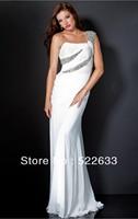2014 White Sheath Floor-length One Shoulder Celebrity Dresses China Free Shipping