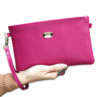 genuine leather women wallet korea style cowhide day clutch messenger bag