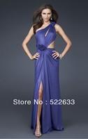 2014 Royal Blue A-line Floor-length One Shoulder Celebrity Dresses China Free Shipping