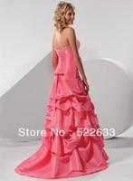 2014 A-line Sweetheart Sleeveless Ruching/Beading/Bow Empire Floor-length Satin Celebrity Dresses China Free Shipping