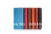 500pcs/lot  genuine real leather book style flip stand  case cover w/ card slot  for SS  Note 3 III colorful high quality