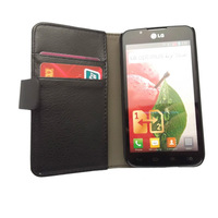 Black Wallet Leather Case Cover Pouch + Film For LG Optimus L7 II Dual P710