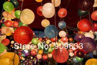 20 Bulbs Cotton Ball Light Lamp String Strip Lantern Handmade Home Decor Wedding Xmas Party Colorful Christmas Mixed Colors