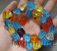 8SE10089 Multi Color Quartz Rough 15x15mm Beads