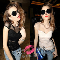 1480 lace shirt sexy low-cut women's gauze cutout tight-fitting the trend of the top women's summer