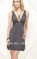 2014 Silver Sheath Short V-neck Celebrity Dresses China Free Shipping