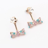 Wholesale 1PC Hot Selling 2013 New Arrived High Quality Fashion Inlay Rhinestone Bow Metal Dangling Earring JE96