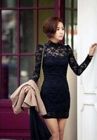 casual 2269 2014 new arrival women bodycon bandage dress stand collar slim long-sleeve basic lace bodycon bandage dress