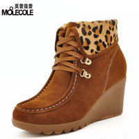 2013 autumn wedges cowhide boots lacing all-match women's shoes fashion boots 6089