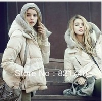 2013 new women winter fashion hood thickening thermal loose tooling down coat fashion design female short XXL Army Green beige