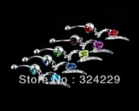 2013 hot sale fashion body jewelry belly piercing romantic model with crystal  fashion rose design free shipping