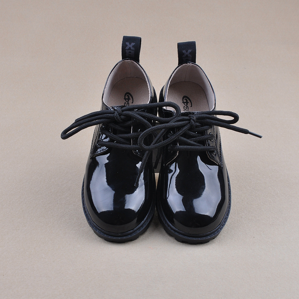 Fashion trend of black male child japanned leather black leather child uniforms shoes(China (Mainland))
