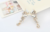 Wholesale 1PC High Quality  2013 New Arrived Fashion Elegant Irregular Geometrical Rhinestone Pattern Stud Earrings JE99