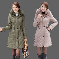 2013 new women winter medium-long large fur collar thickening wadded outerwear slim plus size Army Green cotton-padded jacket