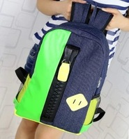 New Arrival !! 2014 Autumn Canvas+PU leather Backpack Sport Bag students Backpack jeans backpack  Free Shipping  YHZ50556